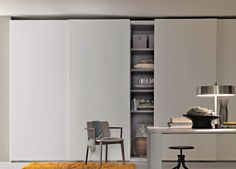 The Prima sliding door wardrobe is made in Italy by Lema, who are renowned for their innovative design and excellent quality. This wardrobe is simple and elegant, it has a completely unembellished door with a discreet recessed handle hidden in the side. Wardrobe Door Handles, Sliding Wardrobe Doors, Sliding Doors, Sliding Cupboard, Cupboard Doors, Modern Wardrobe, Built In Wardrobe, Bedroom Wardrobe, Home Bedroom