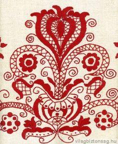 Hungarian Embroidery Pattern Hungarian Folk Motif from Rabakoz Hungarian Embroidery, Folk Embroidery, Embroidery Stitches, Embroidery Patterns, Chain Stitch, Cross Stitch, Embroidery Techniques, Fabric Art, Textile Art