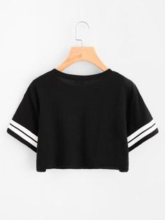 SheIn offers Varsity Striped Crop Tee & mo - Fashionable T Shirt - Ideas of Fashionable T Shirt - Shop Varsity Striped Crop Tee online. SheIn offers Varsity Striped Crop Tee & more to fit your fashionable needs. Teen Fashion Outfits, Sporty Outfits, Tween Fashion, Sporty Style, Mode Outfits, Trendy Outfits, Girl Fashion, Girl Outfits, Summer Outfits