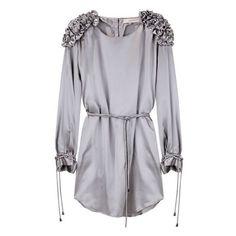 Preen Line / Victoria Dress ($695) ❤ liked on Polyvore featuring dresses, tops, vestidos, vestiti, women, ruffle sleeve dress, long sleeve dress, ruffle dress, ruching dress e curved hem dress