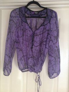 100% Silk Purple and Black Blouse/Top Size 14 uk in excellent condition