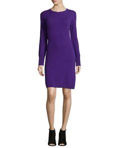 Cashmere Crewneck Sweaterdress, Women's, Size: MEDIUM/4-6, Blue - Neiman Marcus Cashmere Collection