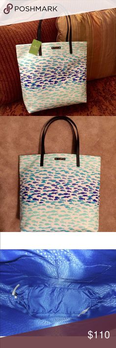 """Kate Spade Plenty Fish Take a """"daycation"""" with Kaye Spade! This is the whimsical Plentyfish Bon shopper tote... Go on, make a splash! Printed coated poplin with pic trim, custom capital Kate jacquard blue lining, shoulder bag with an open top, dual interior slide pockets. Kate Spade New York logo at front, 23.5""""H X 12.3""""W X 5.1""""depth, drop length 9 inches kate spade Bags"""