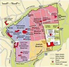 map olf old jerusalem four quarters