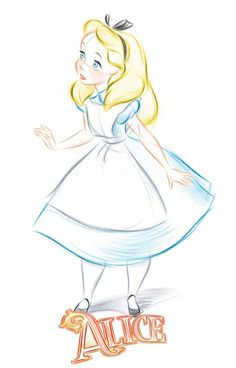 Wallpapers de Alice in Wonderland para Celular - Sweet Magic cartoon sweet Disney Sketches, Disney Drawings, Cute Drawings, Drawing Sketches, Drawing Disney, Disney Princess Sketches, Disney Character Sketches, Princess Alice, Drawing Ideas