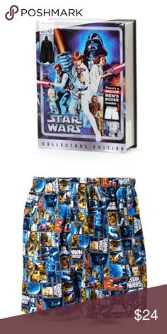 Star Wars medium boxers Product Details These men's boxers in a decorative tin are perfect for any Star Wars fan.  PRODUCT FEATURES Star Wars character graphics Collector's edition Elastic waistband Button fly Packaged in decorative tin for gift-giving FABRIC & CARE Cotton Machine wash Imported Underwear & Socks Boxers