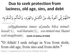 Dua to seek protection from laziness,  old age, sins and debt