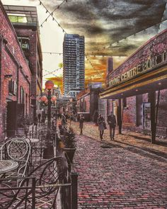 Distillery District, Toronto Canada. Evening, Sunset, Couple, Romance, Walking, City, Street. Fine Art Giclee. Wall Art. by S4StarSbySiSSy on Etsy https://www.etsy.com/ca/listing/289841747/distillery-district-toronto-canada