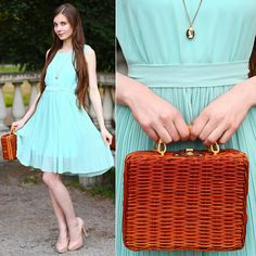 Sheinside Mint Dress With Belt, Chic Wish Small Suitcase, Asos Nude Pumps, Cameo Necklace