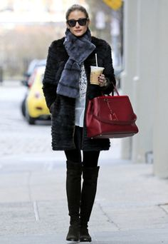 Winter Shoes: Olivia Palermo in Thigh-High Boots Street Style.