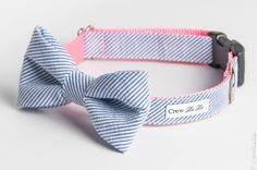 Blue Seersucker Bow Tie Dog Collar by CrewLaLa on Etsy, $41.00