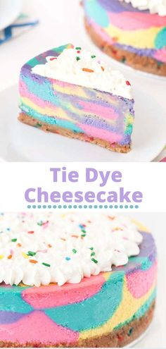 This Tie Dye Cheesecake is just as delicious as it is beautiful to look at! It's made with a confetti Golden Oreo crust, and topped the whole thing off with a simple whipped cream and sprinkle topping! It's simple, delicious and gorgeous! The perfect dessert for any occasion! Cute Desserts, Homemade Desserts, Delicious Desserts, Homemade Breads, Sweet Recipes, Cake Recipes, Dessert Recipes, Nutella Recipes, Easy Icing Recipe