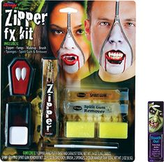 2018 Bundle: 2 Items - Vampire Zipper Face FX Makeup Kit and Free Pack of Makeup and more Accessories / Kits for Women's Costumes, Women's Halloween Costumes for Halloween Makeup Kits, Halloween Club, Halloween Vampire, Cool Halloween Costumes, Halloween Projects, Spirit Halloween, Vampire Costumes, Trendy Halloween, Zombie Walk