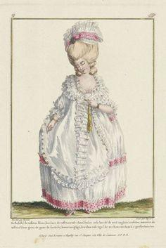 "Gallerie des Modes, 1779. ""Dishabille de taffetas blanc…""    Ooooh…spotty trim!"