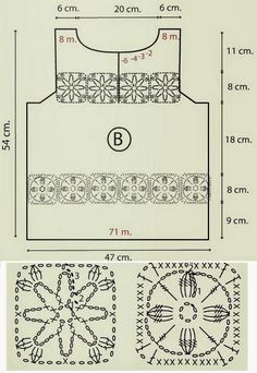 Blusa crochê 26 - gráfico Crochet Tunic Pattern, 18th, Tops, Job Chart, White Women's Hoodies, Crochet Batwing Tops, Crocheting, Dots, Tejidos
