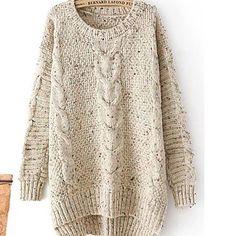 Round Neck Hemp Flowers Long Sleeve Knit Pullover