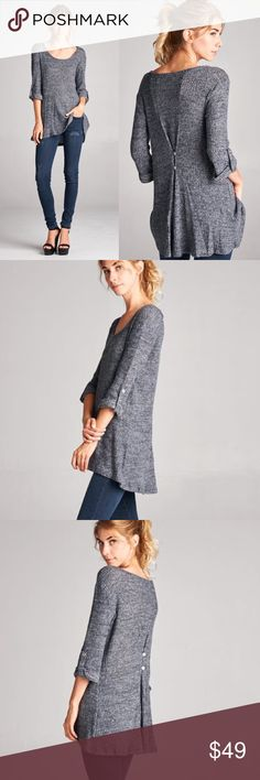 Knit Button Back Tabbed Sleeve Top Grey knit double button back detail. Runs loose. Brand new. NO TRADES DO NOT BOTHER ASKING. Bare Anthology Tops Tees - Long Sleeve