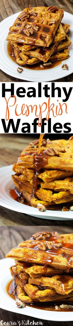 Soft, fluffy and flavorful Healthy Pumpkin Waffles with a thick Pumpkin Caramel Sauce on top. The perfect Weekend Fall or Winter Breakfast!