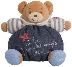 Kaloo Denim Plush Toy, Happy Chubby Bear, Medium