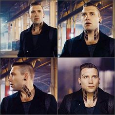 Jai Courtney as Eric in Divergent. Those neck tattoos and that piercing gave me life Divergent Tattoo, Eric Divergent, Divergent Trilogy, Jai Courtney Movies, Jay Courtney, Eric Coulter, Actor Jai, Hot Actors, Handsome Actors