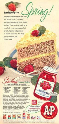 Spiceberry Layer Cake - magazine recipe for A & P and Ann Page Strawberry Preserves.