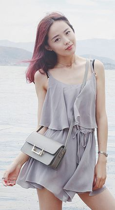 Fashiontroy Hipster & indie high sleeveless crew neck grey creped ruffled high rise playsuit