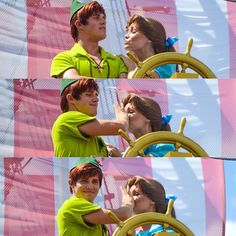 Peter doesn't want kisses... This madr my day! This picture kinda shows why I love Disney parks' characters