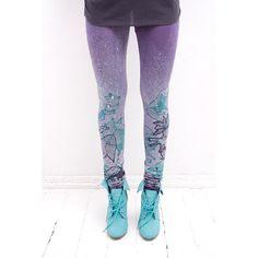 lilac leggings with mint green fancy animal print by ZIBtextile, $50.00
