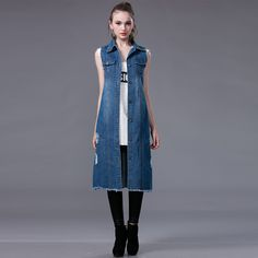 New 2016 Spring Autumn Women Casual Denim Long Vests Slim Vintage Waistcoats Frayed Single Breasted Sleeveless Jackets W014