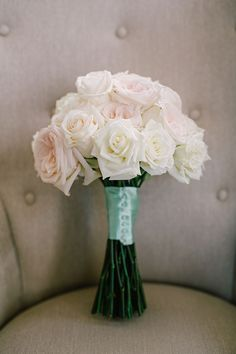 Same-Sex Spring Wedding in Atlanta, Georgia, Briana's White Bouquet with Roses | Brides.com