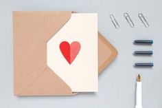 Valentines Day Heart Print Card by ola
