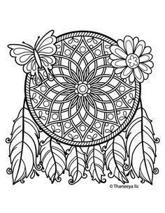 dreamcatcher mandala coloring pages | 160 best DreamCatcher Coloring Pages for Adults images on ...