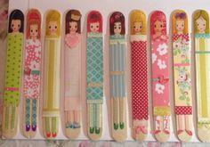 Craft stick girls. Scrapbook paper and sharpies.