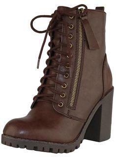 Women's Closed Round Toe Lace-Up Chunky Heel Moto Combat Boot – Brown Pu – Damen Schnürstiefel mit runder Kappe und dickem Absatz und Moto-Kampfstiefel – Braun Pu – – Damenschuhe, Stiefel, Wadenmitte Schuhe Combat Boots Heels, Combat Boot Outfits, Cute Combat Boots, Boot Heels, Knee Boots, Boots For Short Women, Short Boots, Black Leather Boots, Brown Boots