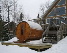 """The unique circular outdoor sauna design provides a much superior heat/steam circulation versus square or rectangular rooms. The 1 ½"""" thick cedar provides a natural insulation barrier for heat retention while still allowing the sauna to breath."""