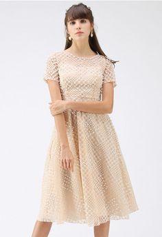 88c7b1bb817 Ladylike Floral Crochet Panelled Shift Dress in Tan - DRESS - Retro