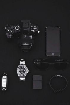 Everyday Carry - EDC - Men's accessories Black and Silver EDC Olympus SLR camera Rolex Rhodium watch Original Rayban Wayfarer Zippo Matte Black Lighter Black Leather Bracelet with Steel Clasp