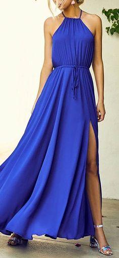 New A-line Chiffon Prom Dresses,Halter royal blue Formal Women Dress H01409