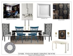 The whole Dark and Stormy Dining Room look.  #fifthwallfriday #ceilume #ceiling #interior #design #diy #diningroom