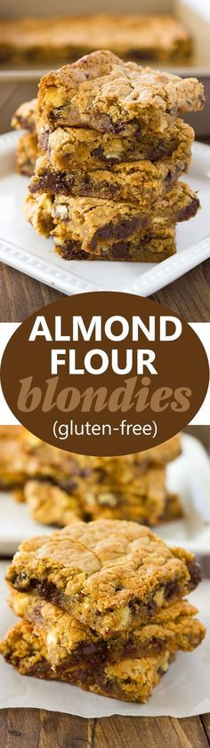 Tastes just like original-Almond Flour Blondies Chewy, gooey, and filled with delicious morsels of chocolate, white chocolate, and pecans! Gluten Free Sweets, Gluten Free Cookies, Gluten Free Baking, Healthy Baking, Gluten Free Dairy Free Desserts, Gluten Free Bars, Keto Cookies, Healthy Chef, Healthy Cookies