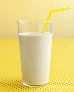 Banana-Oat Smoothie | Martha Stewart Living - Lean protein from milk and yogurt gives energy; soluble fiber from oats and banana boosts heart health.