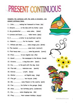 This worksheet is good practice for the present continuous tense. The pupils fill in the blanks with the verbs in brackets. English Grammar For Kids, Teaching English Grammar, English Lessons For Kids, Grammar Lessons, English Language Learning, Learn English Words, French Lessons, German Language, Spanish Lessons