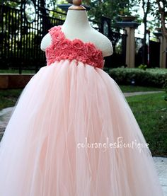 Flower Girl Dress peach coral tutu dress by coloranglesBoutique, $86.00, you can also get a coordinating head band for additional cost.