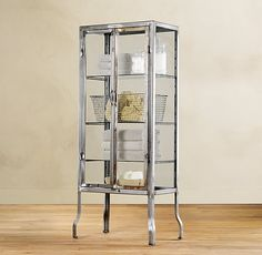 Pharmacy Large Bath Cabinet Burnished Steel - possibly use for bar cabinet, and store pretty serving pieces