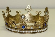 Image of Italian Tole Santos Crown with Pearl Beads and Blue Stones