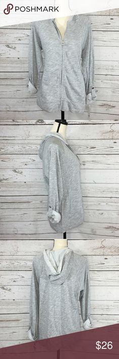 """Style & Co Sport Roll-Tab Sleeve Heathered Jacket Comfortable heathered gray zipper jacket with a hood, pockets and roll-tab sleeves. New with tags. Bust: 46""""; length in the back from the shoulder: 27"""". Measurements are approximate. Smoke free home. 🌺Thank you for shopping my closet😊🌺 Style & Co Jackets & Coats"""