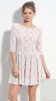 nordstrom pink lace dress