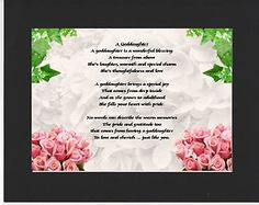 PERSONALISED GODDAUGHTER POEM – MOUNTED     FLOWERS  DESIGN         On offer here is this wonderful poem about a goddaughter personalised with your goddaughters details on  the  background featured.