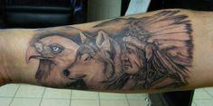 eagle wolf indian tattoo www.tattooandtattoo.com