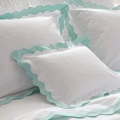 The artisanal handiwork required to make our Lorelei collection is evident in its unique and feminine applique scallop detail. Made with our 600 thread count Milano percale base with sateen detail, the unique look is elegant and enviably beautiful. Best Bedding Sets, Luxury Bedding Sets, Comforter Sets, Luxury Linens, King Comforter, Best Duvet Covers, Cheap Bed Sheets, Bed Linen Sets, Bed Sets